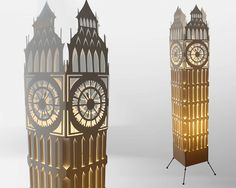 Big ben clock tower/ Floor lamp/ Lampshade/ Free by GalliniDesign
