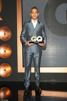 Congrats: Lewis Hamilton picked up the International Sportsman of the Year trophy at GQ Me...