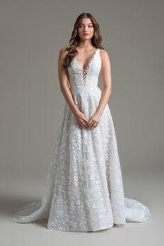 Style 72000 Cosette Ti Adora by Allison Webb bridal gown - Ivory/Cashmere lace and English Net A-line gown. Natural waist deep v-neck bodice with illusion detailing, point d'esprit and deep v-back. Also available in Ivory/Ivory.In stores early Bridal Closet, Wedding Dress Pictures, Dress Out, A Line Gown, Casual Wedding, Bridal Wedding Dresses, Designer Dresses, 3 D, Wedding Inspiration