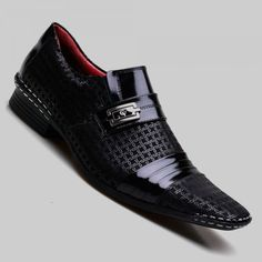 Sapato Social Masculino Calvest Preto Costura Manual e Verniz B - 1750B475 B