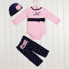 3pcs Girl Baby Newborn Kids Hat+Romper+Pants Trousers Set Outfit 0-3M Clothing #CasualFormalParty