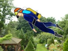 Stained Glass Scuba Diver | eBay