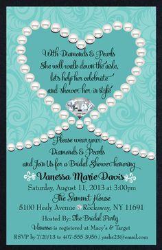 Diamonds & Pearls Tiffany Blue Bridal Shower Invitation