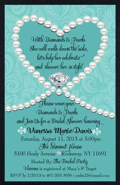 Diamonds & Pearls Tiffany Blue Bridal Shower Invitation