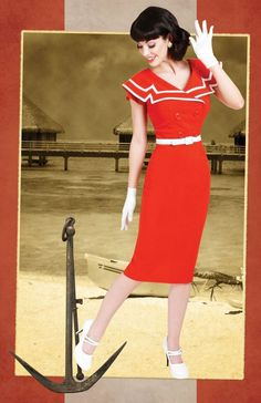 Bettie Page Pinup Cheesecake Sailor Captain Red Mid Century Pencil Dress 2X-4X #Tatyana #MidCenturyNautical #Casual