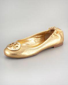 Reva Metallic Leather Ballerina, Gold by Tory Burch at Neiman Marcus.