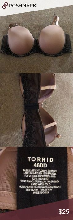NWOT Torrid Strapless Microfiber and Lace Bra Torrid Microfiber and Lace strapless bra size 46DD. Has two convertible straps that can be used tons of different ways or come off of the bra completely! NWOT torrid Intimates & Sleepwear Bras