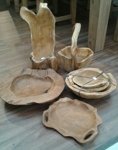 Natural teak bowls, baskets and planters