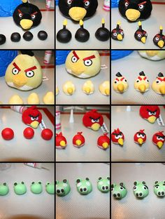 angry birds fondant, candy clay or gum paste