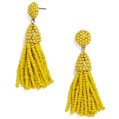 Women's Baublebar Tratar Drop Earrings (431.040 IDR) ❤ liked on Polyvore featuring jewelry, earrings, yellow, retro earrings, bead jewellery, retro jewelry, yellow jewelry and tassel jewelry