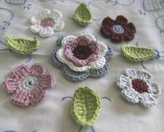 Organic Cotton Crochet 5 Flower Set with 4 by MotivesAndPatterns, $8.50