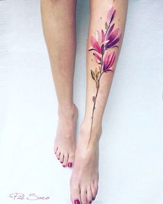 Watercolor floral tattoo