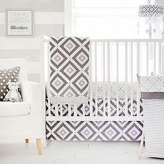 The Imagine Crib Bedding Collection from My Baby Sam  features a dreamy and modern print mix in stylish grey and crisp white. Diamonds, dots, and stripes combine to create a contemporary and calming nursery look.