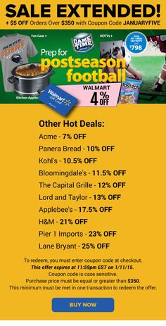 Sale Extended: Walmart 4% OFF + Kohl's 10.5% OFF, Bloomingdale's 11.5% OFF & More