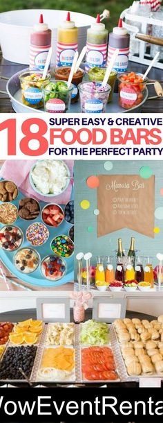 Food Bar Ideas for your next gathering....remember 4th of July is around the corner.  Book your waterslide, moonbounce and all your party equipment with us today!  We've got you covered.