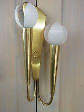 Æ ZQ6 * Stilnovo Blüten 50er 60er Messing Lampe Design Wandleuchte Rockabilly