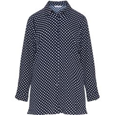 Zhenzi Dark-Blue / White Plus Size Polka dot print shirt (245 CNY) ❤ liked on Polyvore featuring tops, plus size, collared shirt, long-sleeve crop tops, long white shirt, plus size white shirt and plus size white tops