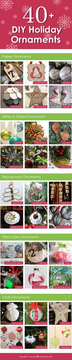 40+ DIY Holiday Ornaments