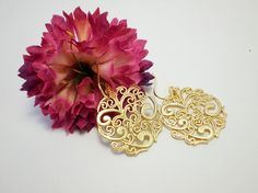 Gold Paisley Medallion Earrings Chandelier by FrenchRobinDesigns, $18.00