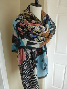 BNWT Moschino Cheap and Chic Black Multi Pattern Modal Cashmere Large Scarf