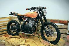 Back bracket to add up 'adventurous' image - 1996 Honda Dominator - OC Garage - The Bike Shed Honda Dominator, Scrambler Custom, Triumph Scrambler, Custom Cafe Racer, Custom Motorcycles, Custom Bikes, Street Scrambler, Tracker Motorcycle, Motorcycle Engine