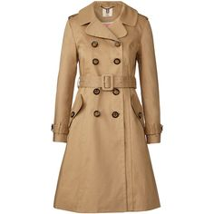 Orla Kiely Double Faced Cotton Trench Coat (2 040 SEK) ❤ liked on Polyvore featuring outerwear, coats, jackets, coats & jackets, camel, orla kiely, orla kiely coat, fitted trench coat, camel double breasted coat and cotton trench coat