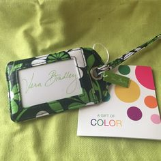 Vera Bradley lucky you luggage tag Springy Vera Bradley luggage tag! NWT this black, green and white laminated luggage tag is the perfect way to add personality to your favorite travel bag. Vera Bradley Accessories