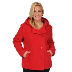 Plus Size Excelled Hooded Peacoat, Women's, Size: