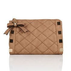 Beige Cosmetic Bag with Gold Accent ($17) ❤ liked on Polyvore