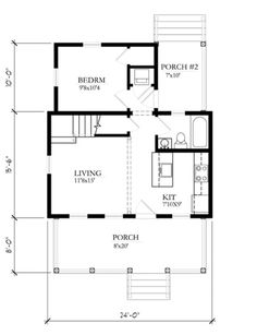Cottage Style House Plan - 2 Beds 1 Baths 697 Sq/Ft Plan #514-10 Floor Plan - Main Floor Plan - Houseplans.com