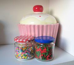 big cupcake jar and sprinkles jars