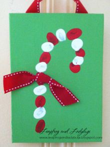 Fingerprint Candy Cane Christmas Kids Craft. #Crafts #Christmas