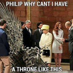 Queen Elizabeth visits the set of Game of thrones. Funny meme humour