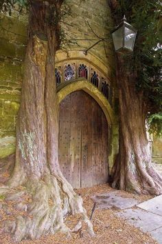 Yew Tree ---- St Edward's Church, Stow-on-the-Wold, flanked by ancient yew trees. Abandoned Houses, Abandoned Places, Abandoned Mansions, Vila Medieval, Medieval Castle, Doorway, Architecture, Fairy Tales, Beautiful Places