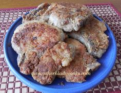 FRIED PORK CHOPS AND GRAVY - Oh My !!  This may not be healthy food, but certainly Southern COMFORT Food !!!  Big :-)