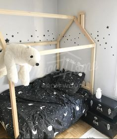 White and black space adventure themed kids room, twin size house bed, Kids nursery bed, bunk bed, Montessori bed, baby bed house, children bed, toddler bed, children furniture HEADBOARD