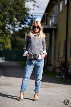 grey sweater, white shirt, Saint Laurent crossbody bag, cropped jeans & lace up suede heels #style #fashion #streetstyle
