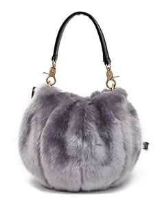 45e8b20460 GIANCO FERRO Women Round Faux Fur Handbag Winter Crossbody Bag Tote  Shoulder Bag Crossbody Shoulder Bag