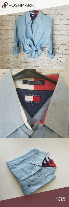 Vintage Tommy Hilfiger oxford 100% cotton  22in pit to pit  28in long Tommy Hilfiger Tops Button Down Shirts