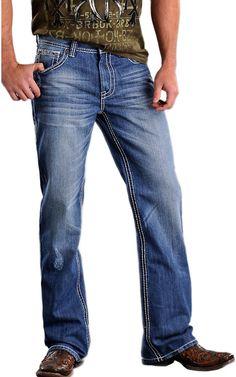 Rock & Roll Cowboy® Medium Stonewash Double V Barrel Relaxed Fit Boot Cut Jeans | Cavender's Boot City