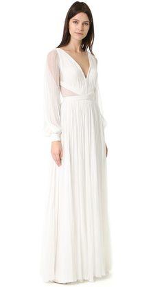 J. Mendel Camilla V Neck Long Sleeve Gown