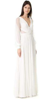 J. Mendel Camilla V Neck Long Sleeve Gown