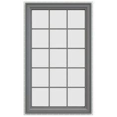 JELD-WEN 35.5 in. x 59.5 in. V-4500 Series Right-Hand Casement Vinyl Window with Grids - Gray