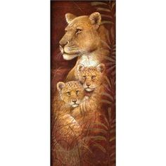 feilin Diamond Painting Tools Set Lion Family 5D DIY Diamond Painting Cross Stitch Kits Arts Craft for Adults or Kids Canvas Wall Decor Gift 40x30cm