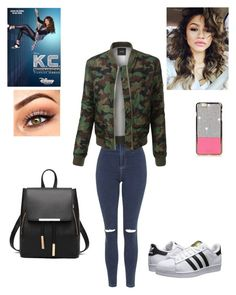KC undercover's style by emilyinparis2005 on Polyvore featuring polyvore, beauty, LE3NO, Topshop, adidas Originals and Coleman