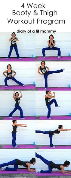 30 day butt & thigh home workout program. No gym required!   #booty #squats #fitness