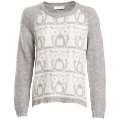 Grey And White Owl Fairisle Knit Jumper ($40) ❤ liked on Polyvore