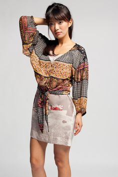 Lucca Couture Mix Print Tie Top $58 #sheer #bohemian #70s #top #summer #luccacouture #fashion #layering