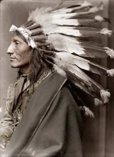 This picture was taken in 1900, and shows an Indian Chief. The man's name was Whirling Horse