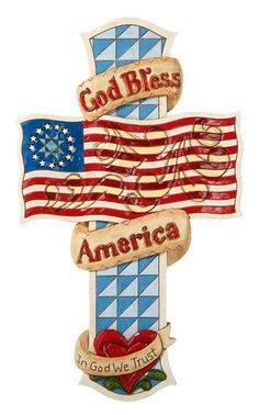 God Bless America Wall Cross By Jim Shore 12 Tall Folk Art Christian Cross American Gods, American Pride, American Flag, American Freedom, Cross Wall Art, Wall Crosses, Wooden Crosses, In God We Trust, Old Glory